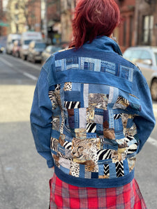 90s Animal Print Patchwork Jean Jacket