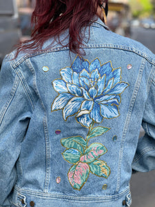 Vintage 80s Hearts and Roses Painted Jean Jacket