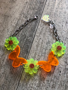 Butterfly Flower Neon Choker by Marina Fini | Necklaces - 80s 90s Retro Vintage Clothing | Spark Pretty