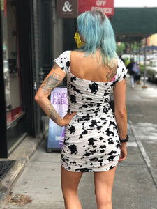 Flocked Cow Print Spotted Mini Dress by Motel | Dresses - 80s 90s Retro Vintage Clothing | Spark Pretty