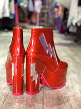 Red Shiny Lightning Bolt Platform Bootie by YRU | Shoes - 80s 90s Retro Vintage Clothing | Spark Pretty