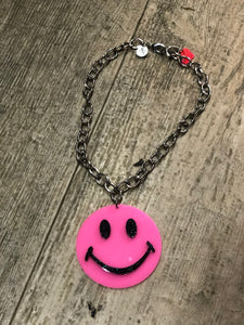 Pink Smiley Face Necklace by Marina Fini | Necklaces - 80s 90s Retro Vintage Clothing | Spark Pretty