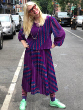 Vintage 80s Purple Stripe Dress | Dresses - 80s 90s Retro Vintage Clothing | Spark Pretty