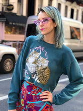Vintage  90's Kitty Cropped Sweatshirt | Sweaters - 80s 90s Retro Vintage Clothing | Spark Pretty
