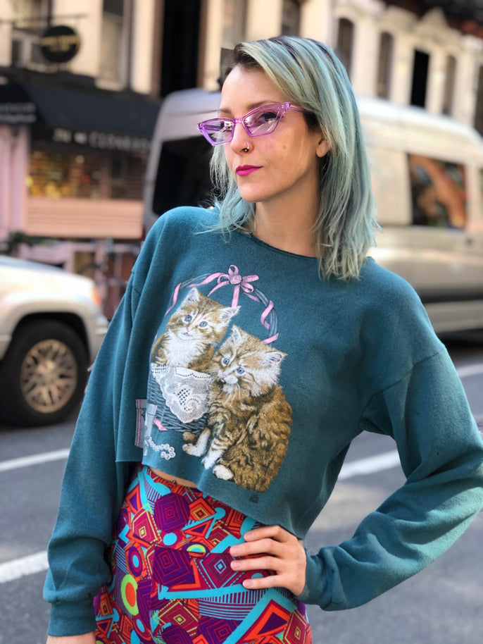 Vintage  90's Kitty Cropped Sweatshirt - Spark Pretty