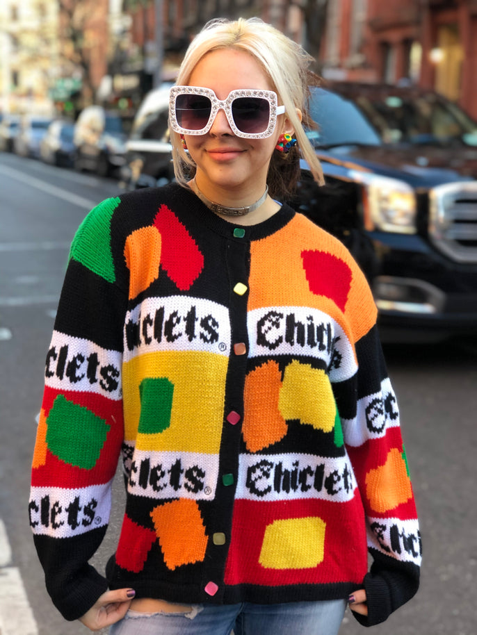 Vintage 80s Knit Chiclets Cardigan | Sweaters - 80s 90s Retro Vintage Clothing | Spark Pretty