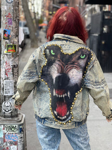 Vintage 80s Acid Wash Spikey Wolf Jacket