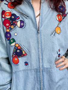 Vintage 90s Billards Pool Ball Theme Denim Jacket
