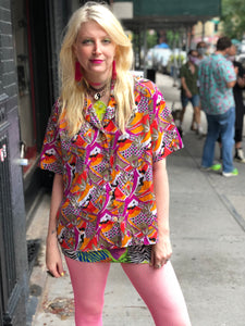 Vintage 70s Psychedelic Colorful Blouse