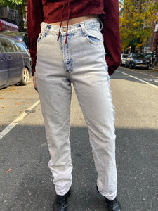 Vintage 80s Shredded Acid Wash Light Wash High Waisted Mom Jeans