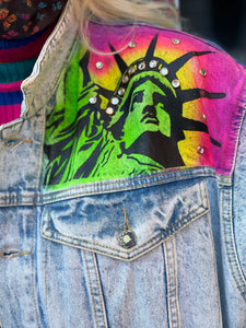 Vintage 80s Painted and Bedazzled New York Jean Jacket