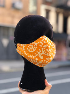 Custom Made Orange Geometric Print Face Mask | Mask - 80s 90s Retro Vintage Clothing | Spark Pretty