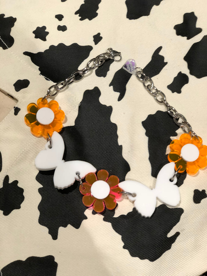 Neon Orange and White Flower Butterfly Choker by Marina Fini | Necklaces - 80s 90s Retro Vintage Clothing | Spark Pretty