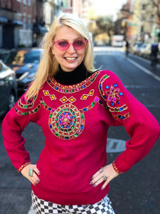 Vintage 80s Pink Bedazzled Gem Sweater - Spark Pretty