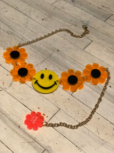 Smiley Face and Orange Flower Power Belt by Marina Fini