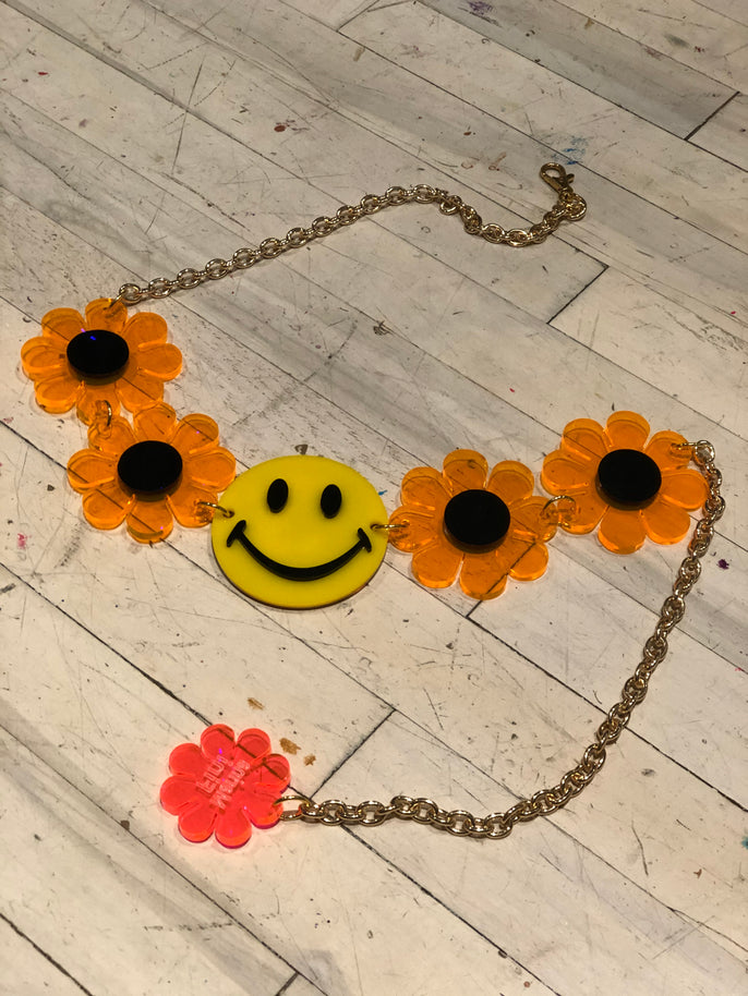 Smiley Face and Orange Flower Power Belt by Marina Fini | Belts - 80s 90s Retro Vintage Clothing | Spark Pretty