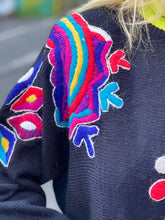 Vintage 80s Colorful Embroidered Beaded Sweater