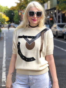 Vintage 90s Cream Geometric Patches Sweater