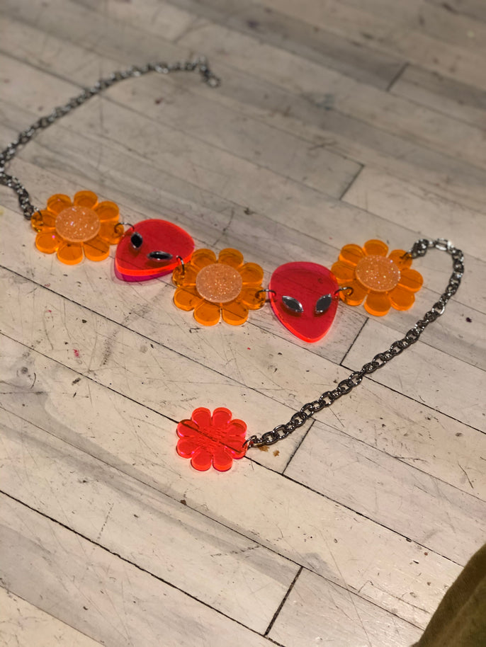Orange Glitter Flower Power Alien Belt by Marina Fini | Belts - 80s 90s Retro Vintage Clothing | Spark Pretty