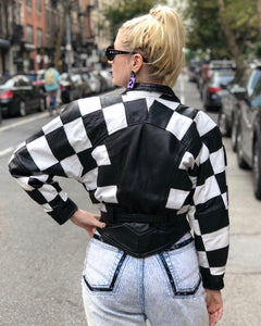Vintage 80s Checkerboard Leather Jacket | Jackets - 80s 90s Retro Vintage Clothing | Spark Pretty