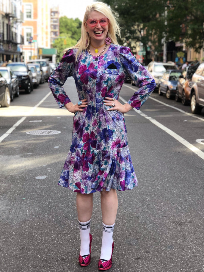 Vintage 80s floral and leopard Dress - Spark Pretty
