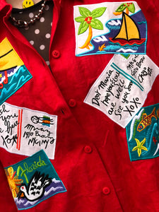 Vintage 80s Postcards Theme Patchwork Blouse