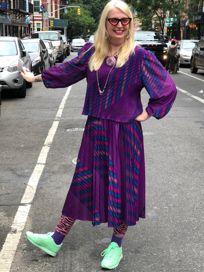 Vintage 80s Purple Stripe Dress - Spark Pretty