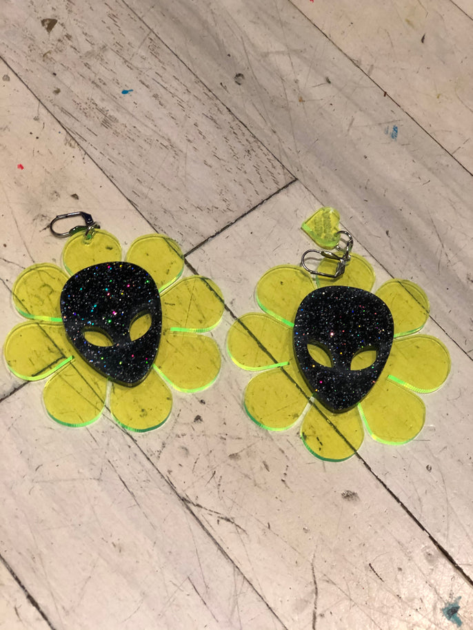 Neon Green and Black Alien Glitter Flower Power Earrings by Marina Fini | Earrings - 80s 90s Retro Vintage Clothing | Spark Pretty