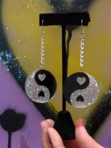 Yin Yang Glitter Earrings by No Basic Bombshell