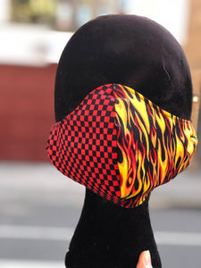 Custom Made Flames and Checks Face Mask | Mask - 80s 90s Retro Vintage Clothing | Spark Pretty