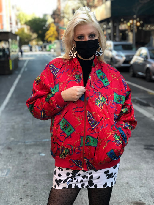 Vintage 90s Red Quilted Status Print Bomber Jacket
