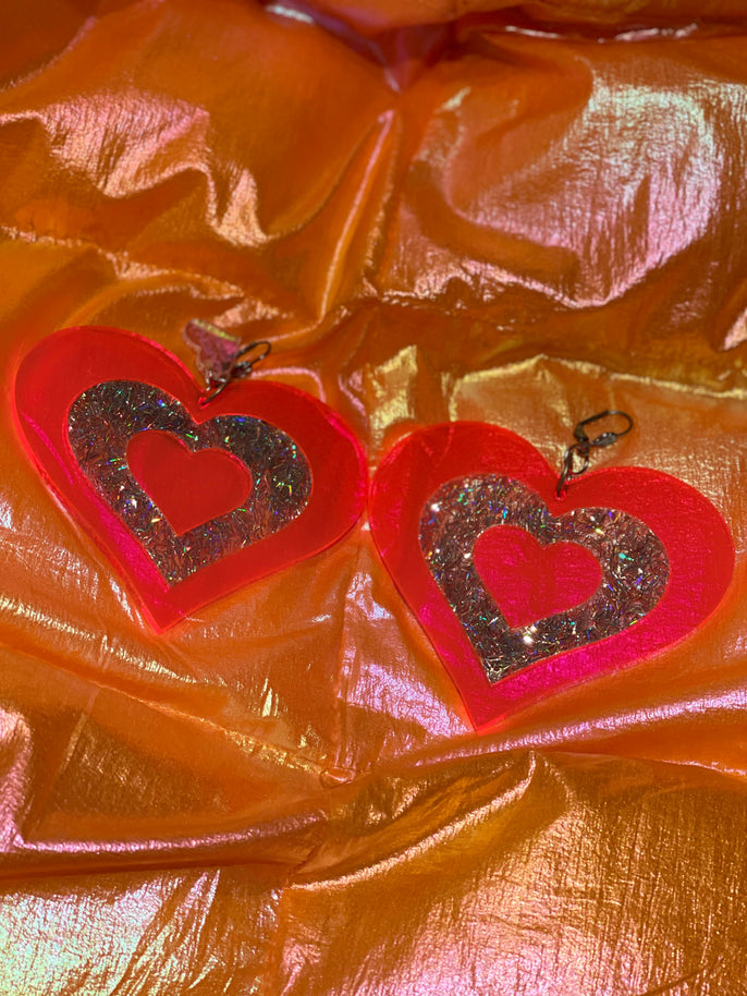 Pink and Silver Glitter Heart Earrings by Marina Fini