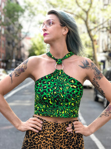 Green Leopard Halter O-Ring Crop Top by Get Crooked | Shirt - 80s 90s Retro Vintage Clothing | Spark Pretty