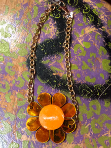 Neon Orange and Glitter Reversible Pendant Necklace by Marina Fini | Necklaces - 80s 90s Retro Vintage Clothing | Spark Pretty
