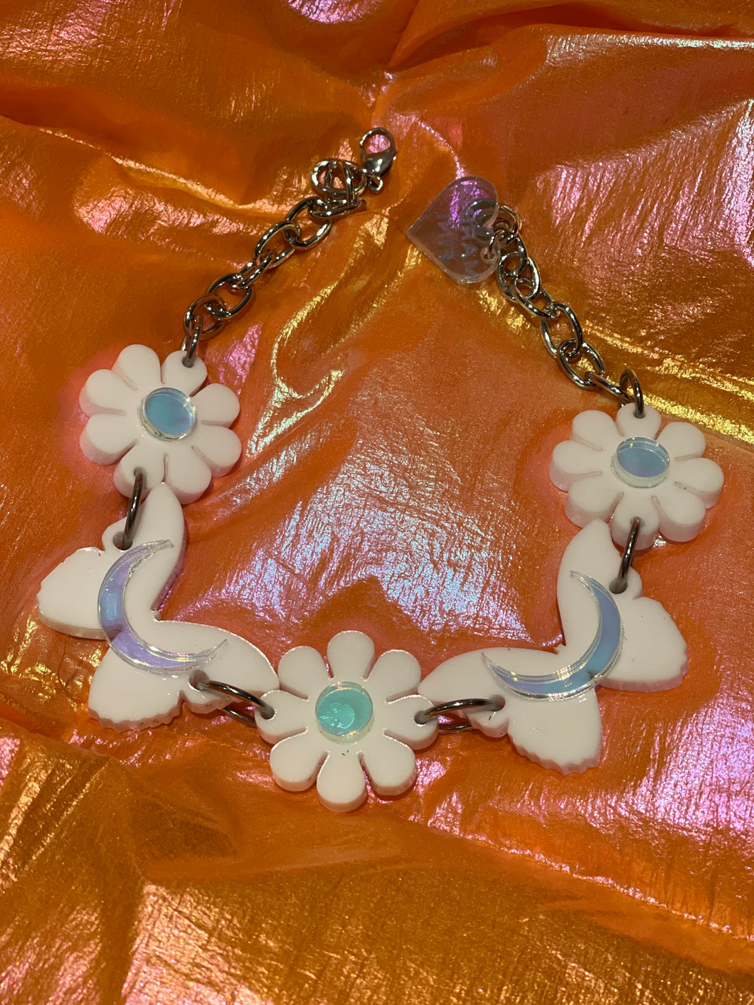 White Butterfly Floral Holo Choker by Marina Fini
