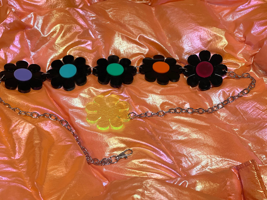 Black and Rainbow Reversible Flower Power Belt by Marina Fini