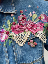 Vintage 80s Sparkly Bedazzled Roses and Lace Jean Jacket