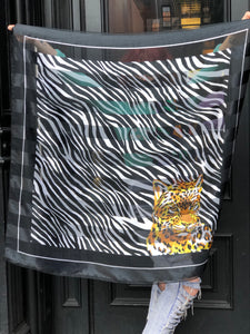 Vintage 90s Zebra and Tiger Scarf