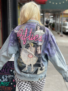 Vintage 80s Hand Painted and Bedazzled Fifties themed Jean Jacket