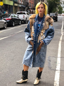 Vintage 80s Acid Wash Trench Maxi Coat - Spark Pretty