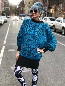 Vintage 80s Aqua Blue Leopard Tunic Dress - Spark Pretty