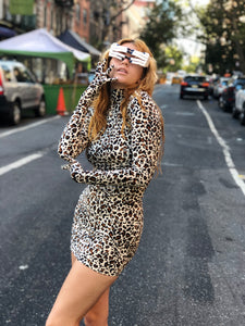 Y2K Leopard Gloves Mini Dress