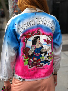Vintage 80s Acid Wash Snow White Bedazzled Jean Jacket XS