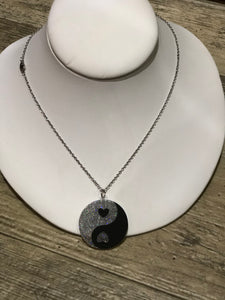 Yin Yang Glitter Necklace by No Basic Bombshell