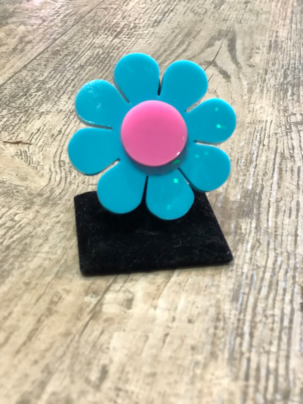 Turquoise and Pink Flower Ring by Marina Fini | Rings - 80s 90s Retro Vintage Clothing | Spark Pretty