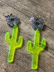 Neon Green and Silver Sparkle Cactus Earrings by Marina Fini | Earrings - 80s 90s Retro Vintage Clothing | Spark Pretty