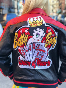 Vintage 80s Leather Betty Boop Bomber Jacket - Spark Pretty