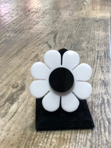 White and Black Flower Ring by Marina Fini | Rings - 80s 90s Retro Vintage Clothing | Spark Pretty