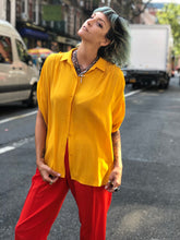 Vintage Y2K DVF Yellow Blouse | Shirt - 80s 90s Retro Vintage Clothing | Spark Pretty
