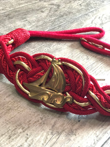 Vintage 80s Red Braided Sail Boat Belt - Spark Pretty